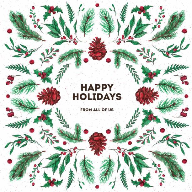 aquarell und tusche weihnachtsgrußkarte - laub winter stock-grafiken, -clipart, -cartoons und -symbole