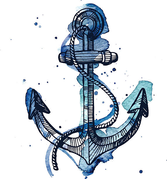 Watercolor and ink illustration of an anchor vector art illustration