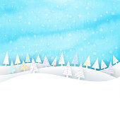 Christmas scene, snow, sky and paper fir trees