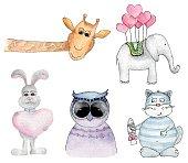 Watercolor animals cartoon vector hand painted