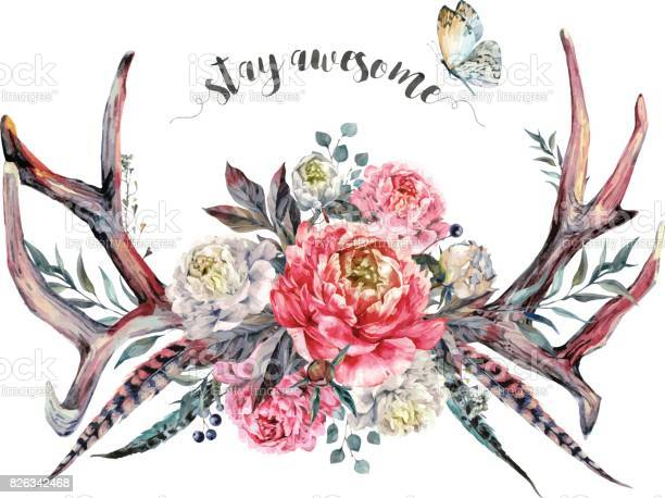 Watercolor antlers and flowers boho decoration vector id826342468?b=1&k=6&m=826342468&s=612x612&h=vbylhgcwtkxlzb6mdpy9qzgkccbunfxetdlrqemgtdo=