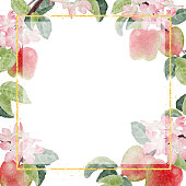 istock watercolor apple flower and fruit with gold glitter frame  for banner with copy space for text 1326517955