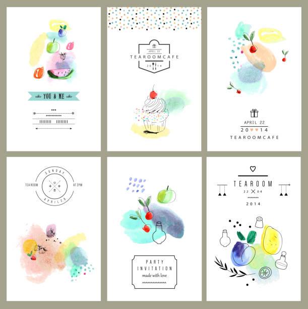 aquarell art.  obst, beeren, süßigkeiten.  satz von sechs creative-karten. - pflaumenkuchen stock-grafiken, -clipart, -cartoons und -symbole