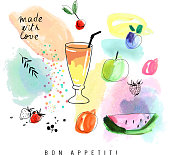Watercolor art. Smoothie with berries and fruits.  Isolated