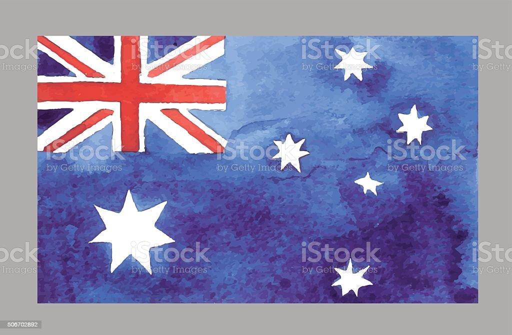 水彩オーストラリア国旗ます。ベクトル EPS 10 Œ ベクターアートイラスト