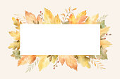 Watercolor autumn banner with leaves and branches isolated on white background. Autumn illustration for greeting cards, wedding invitations, quote and decorations.