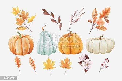 istock Watercolor Autumn Elements 1332494647