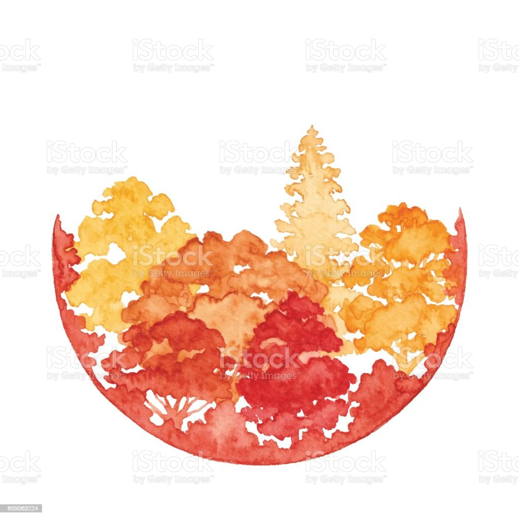 Watercolor Autumn Forest With Circle Frame vector art illustration