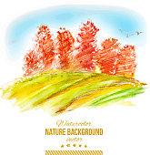 Vector watercolor autumn illustration. Abstract forest with orange trees. Nature hand drawing background.