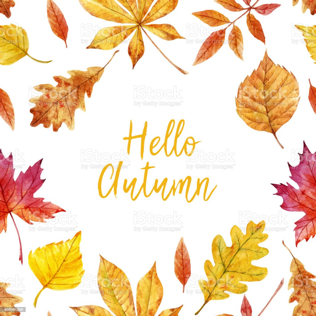 Watercolor autumn leaves vector frame vector art illustration