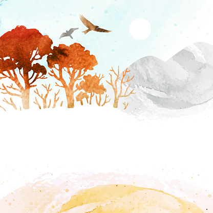 Watercolor autumn vector landscape. Background with silhouette mountains, trees and birds under blue sky. Template frame for invitation, poster, flyer, banner, card.