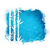 Watercolor blue splash grunge background and bamboo trees white silhouettes - vector artwork