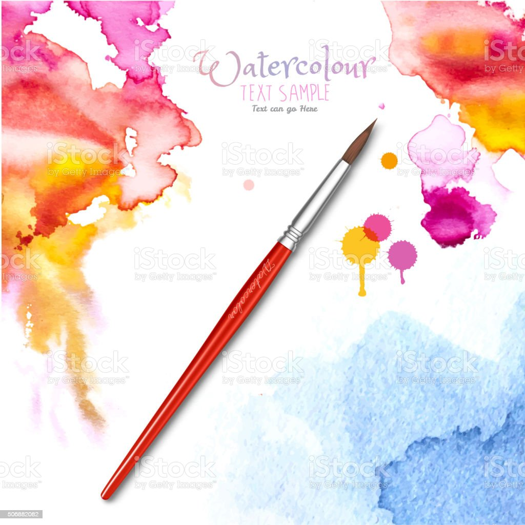 Watercolor Background and Brush vector art illustration