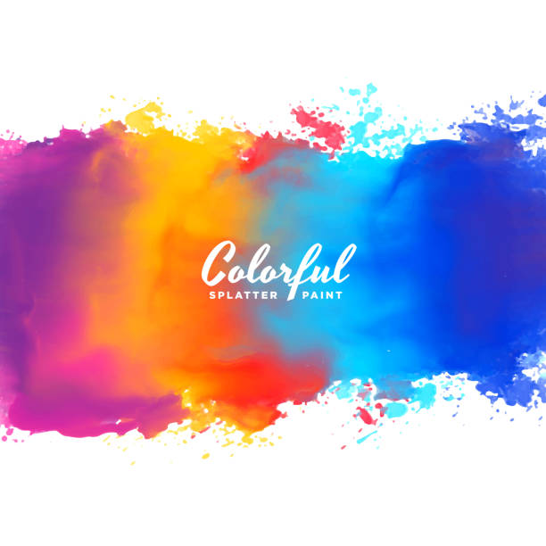 watercolor background hand paint splash in many colors - color image stock illustrations