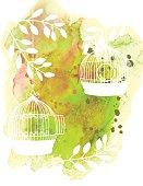 Watercolor Background Texture With White Plant Silhouettes