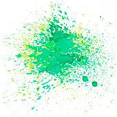 A vector illustration of watercolor paint splats in green and yellow colors.