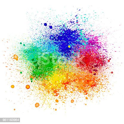 A vector illustration of watercolor splats in a rainbow of colors.
