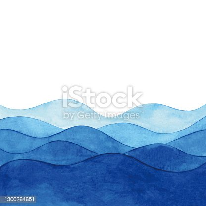 istock Watercolor Background With Abstract Blue Waves 1300264651