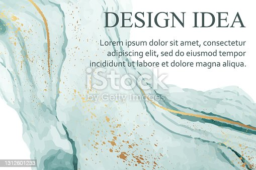 istock Watercolor background with abstract teal ink waves and golden splashes on a white. 1312601233
