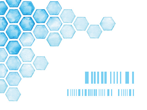 Watercolor Background With Blue Hexagons
