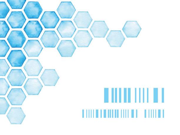 illustrazioni stock, clip art, cartoni animati e icone di tendenza di watercolor background with blue hexagons - favo