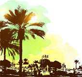 Watercolor background with buildings and palms in Dubai city, United Arab Emirates. Travel concept.