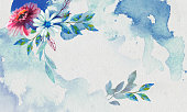 watercolor background with flowers for design of flyers, cards, postcards, invitations, cover of mobil