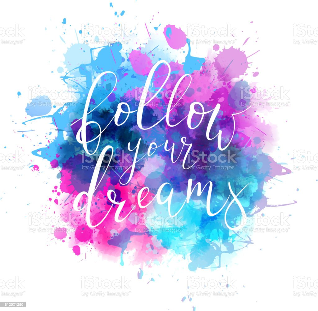 Watercolor background with handwritten calligraphy stock