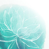 Abstract hand drawn watercolor background with lotus flower, vector illustration.