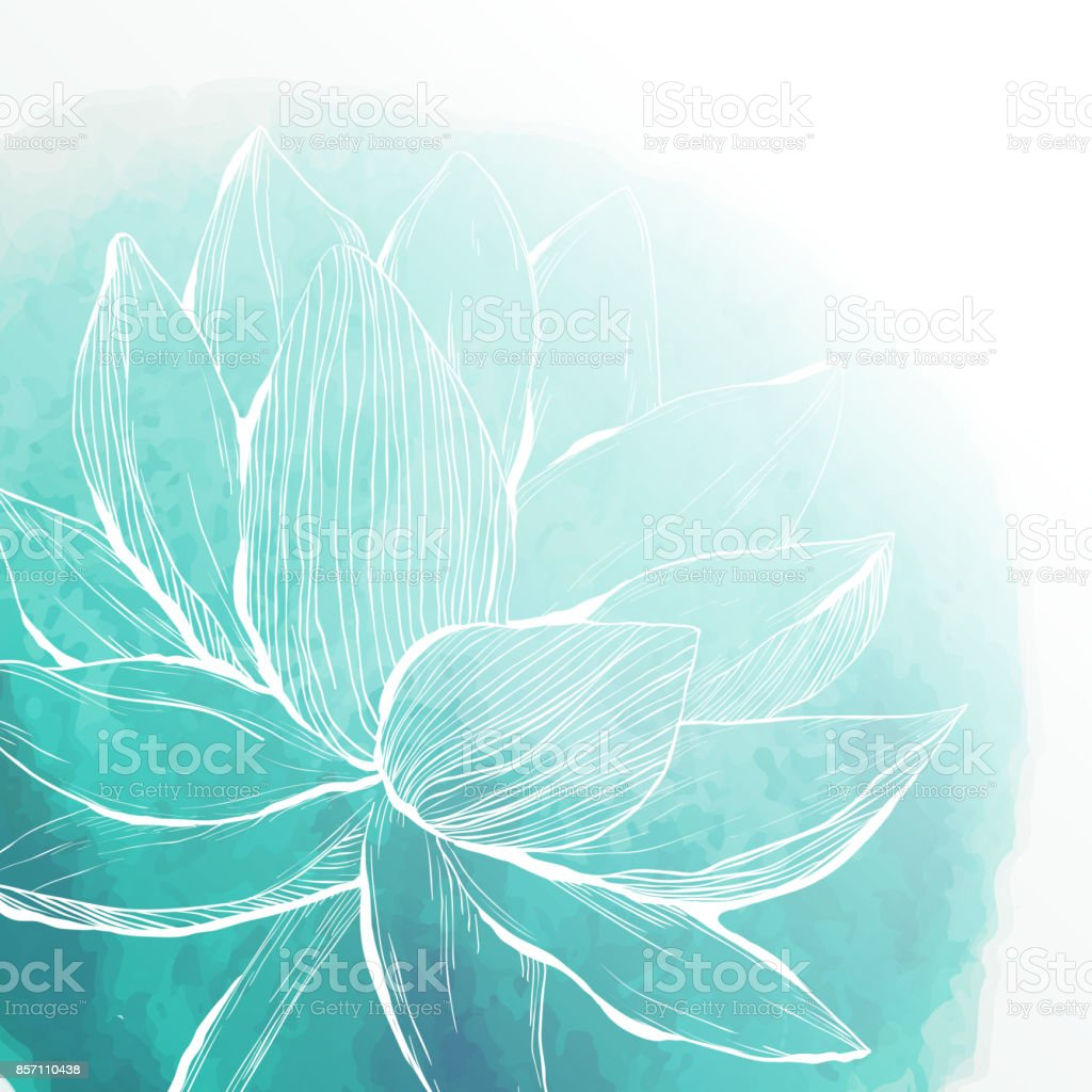 Watercolor background with lotus flower vector art illustration