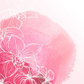 Abstract hand drawn watercolor background with orchid flowers, vector illustration.