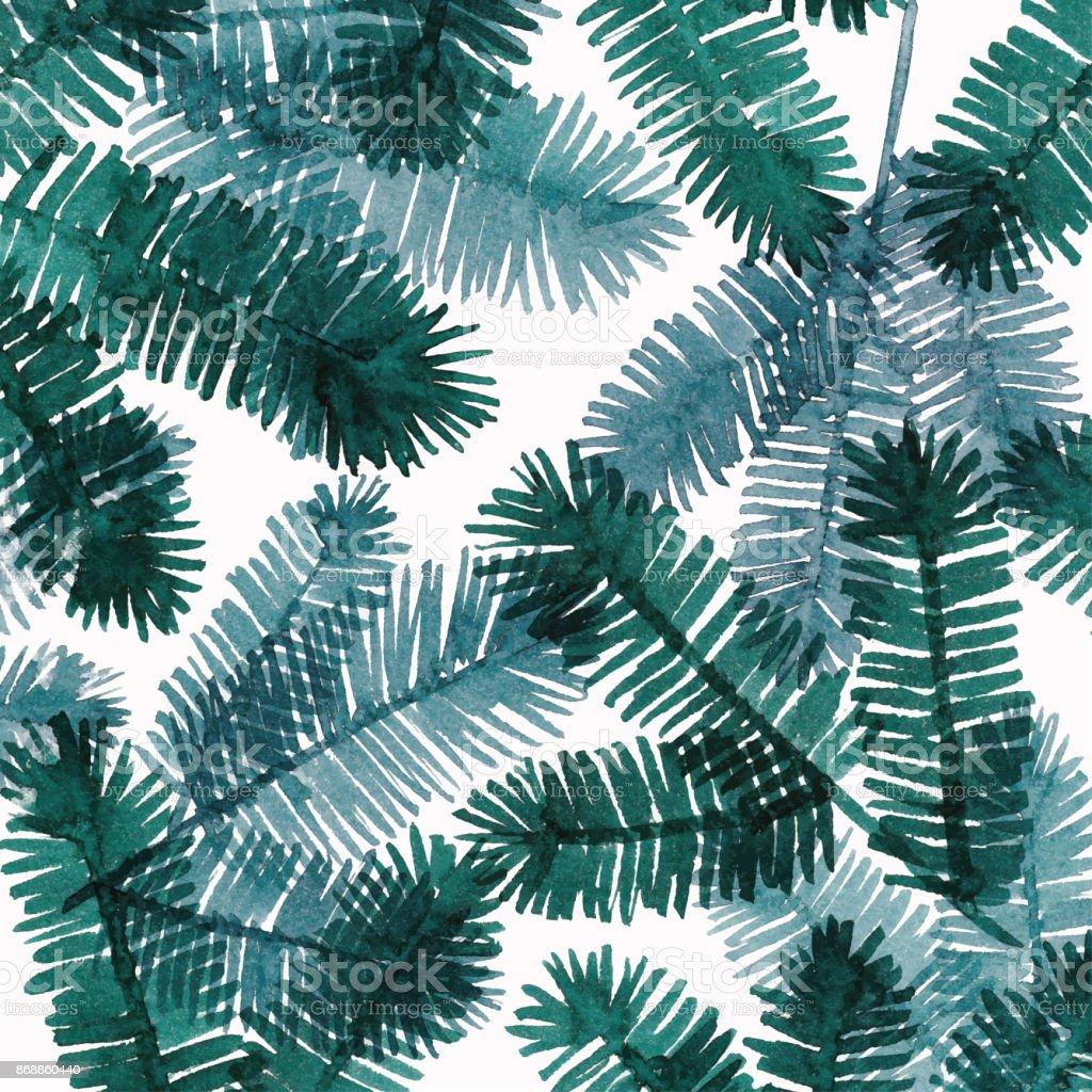 Fond Aquarelle avec des brindilles de Pine Tree - Illustration vectorielle