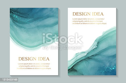 istock Watercolor backgrounds with abstract teal ink waves and metallic splashes on a white. 1313433165