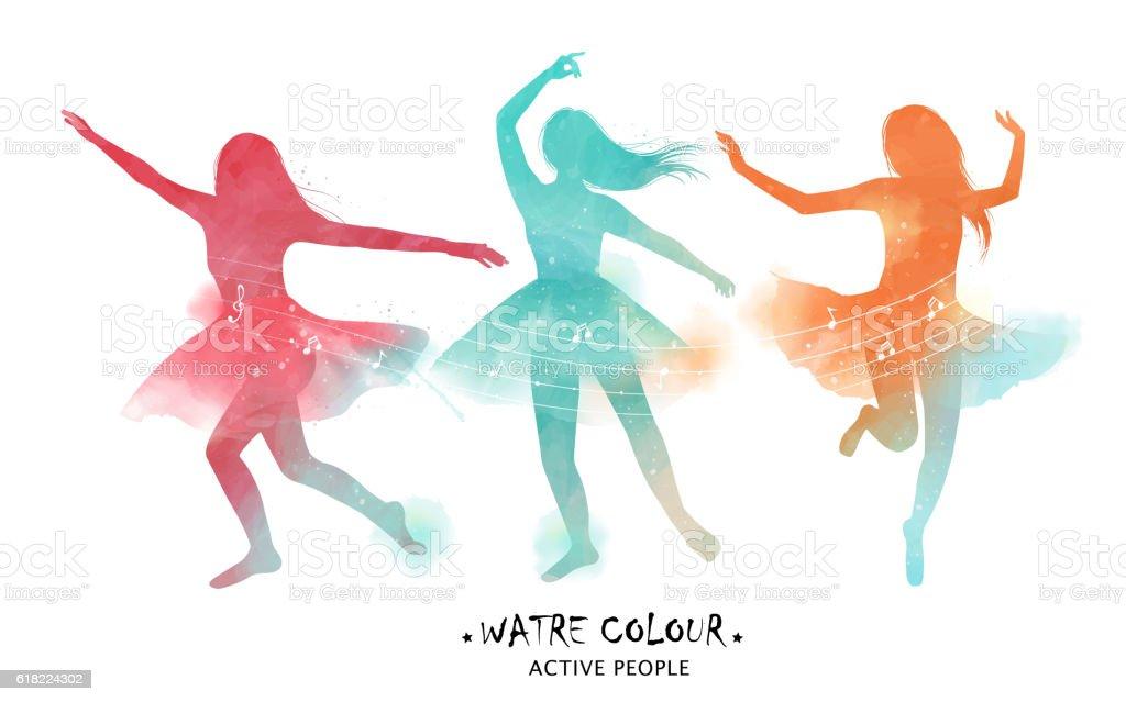 Watercolor ballet dancer silhouette - ilustración de arte vectorial