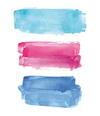Set of blue, pink and cyan vectorized watercolor splashes.