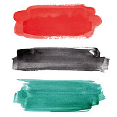 Set of red, black and emerald green vectorized watercolor splashes.