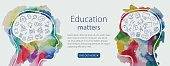 Watercolor banner depicting education including line icons set.