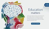 Watercolor Banner Depicting Education Including Icons Set