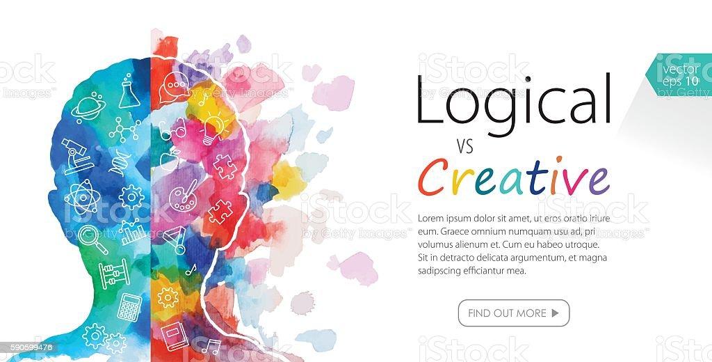 Watercolor Banner Depicting Logical Vs Creative Thinking vector art illustration