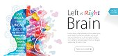 Abstract watercolor vector template depicting left and right brain functions . Nicely layered.