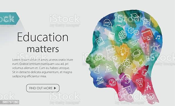 Watercolor banner with child head including education icons set vector id585797280?b=1&k=6&m=585797280&s=612x612&h=c2xvurhjcmw7b7m9k6fqlofhllsyt7pxozs2ktu6jew=