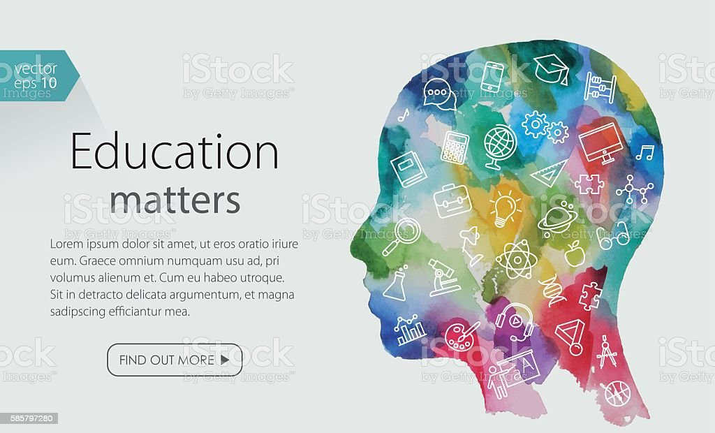 Watercolor Banner With Child Head Including Education Icons Set – Vektorgrafik