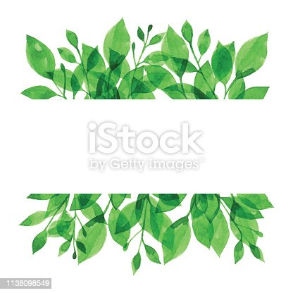 Watercolor Banner With Green Branch