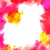 Colorful Red and Yellow Vector Paint Splashes. Indian Holi Festival Background. Watercolor Banner with Place for Your Text.