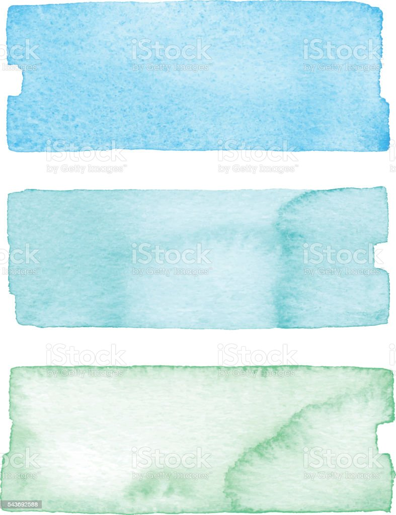 Watercolor Banners Blue And Green vector art illustration