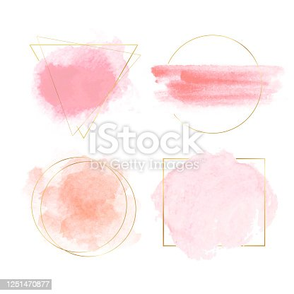 istock Watercolor banners with gold frames 1251470877