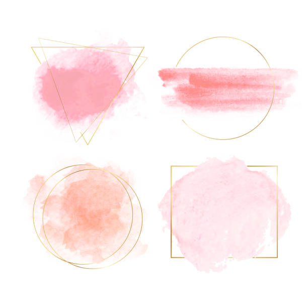 Watercolor banners with gold frames Watercolor banners with gold triangle, square and round frames. Vector illustration for banners, posters, flyers and wedding invitation cards watercolor painting stock illustrations