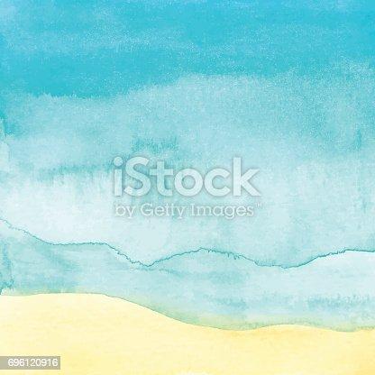 istock Watercolor Beach Background 696120916