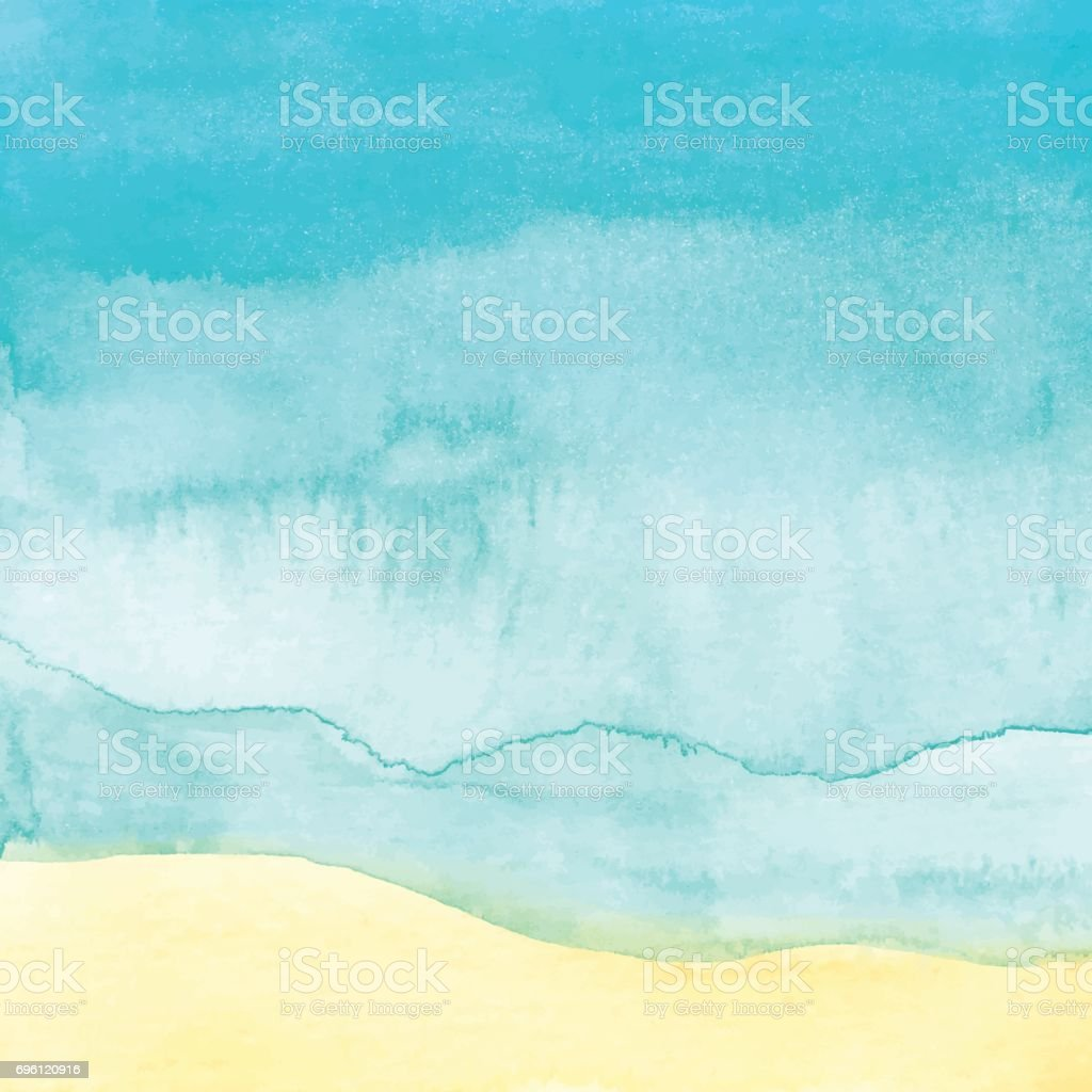 Watercolor Beach Background vector art illustration