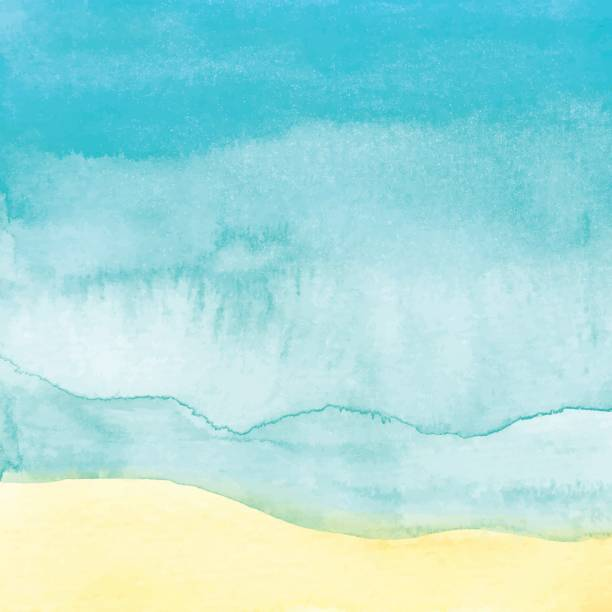 watercolor beach background - nature travel stock illustrations, clip art, cartoons, & icons
